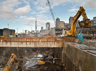 Work progresses on the TBM launch site in Seattle