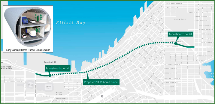 Proposed route of the double-deck bored tunnel highway