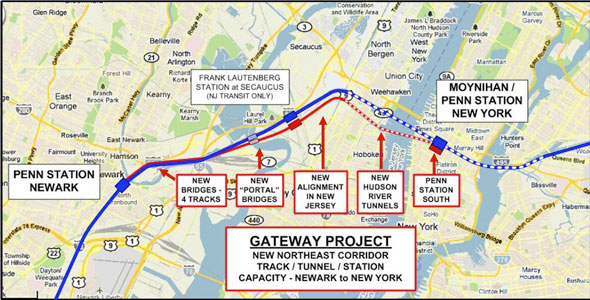 Gateway alternative route through New Jersey and New York