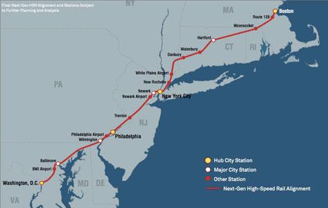 Proposed northeast high-speed rail corridor improvements