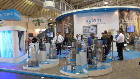 Pumps stand to attention on the Xylem stand