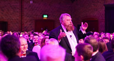 Guest speaker Brian Blessed all at sea