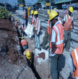 Track support work ahead of TBM underpass