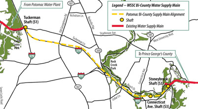 Bi-County Water Tunnel alignment