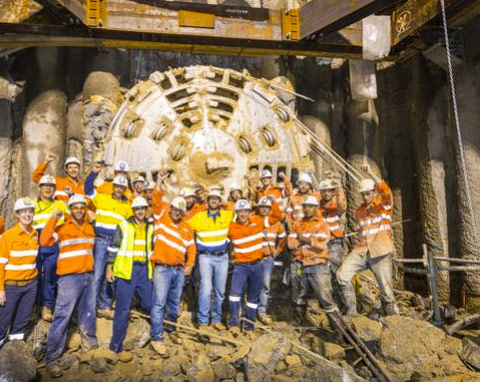 Thiess construction team celebrates breakthrough on Curtis Island