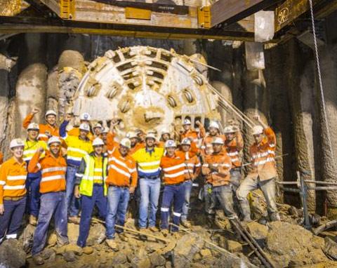 Thiess construction team celebrates breakthrough on Curtis Island