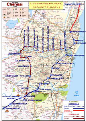 Underground for 18km of Chennai's metro