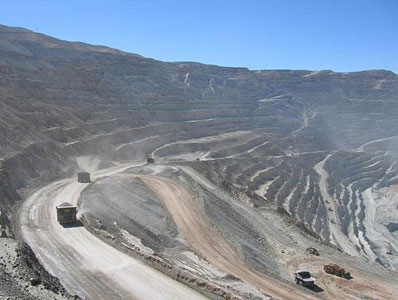 Chuquicamata open pit mine in Chile is the world's largest at 4.3km long, 3km wide and 850m deep