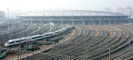 Beijing South Station terminus on the high-speed line to Shanghai