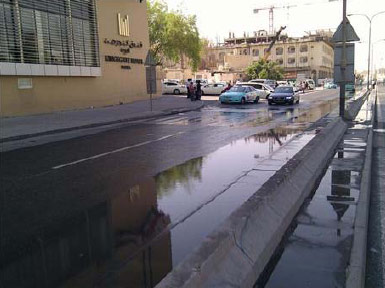 Foul sewage overflows in Doha
