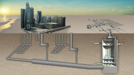 IDRIS design features 45km interceptor sewer, 70km of lateral sewers and a 70m deep underground pump station