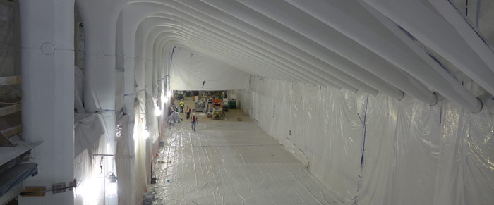 Brilliant white finish of support structures in a main passageway
