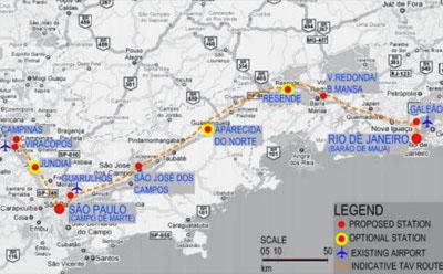 Fig 1. Alignment of the 511km Rio-São Paulo-Campinas route