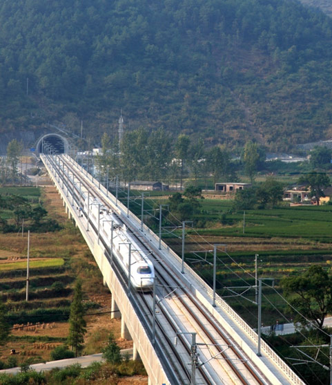 263 tunnels account for 221km on the new 2,298km long Beijing-Guanzhou service