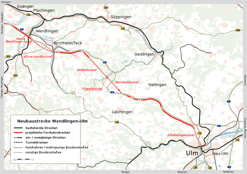 Fig 2. Route and tunnels of Wendlingen-Ulm rail project