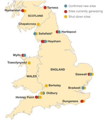 Current and future nuclear reactor facilities in the UK