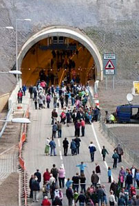 Thousands walked the tunnel