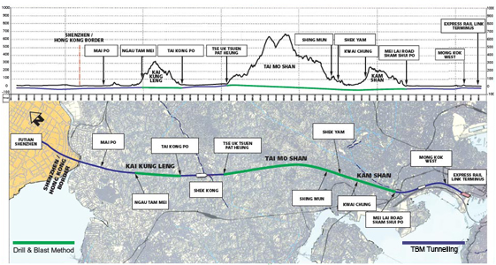 Fig 1. Hong Kong's 26km long underground XRL route