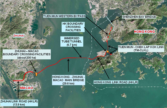 Fig 1. Aerial view of Hong Kong and its new undersea and fixed ocean link highway connections