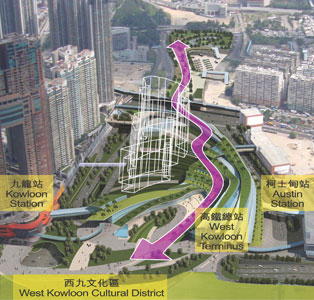 Curved route to the West Kowloon Terminus