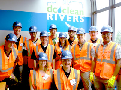 Scholarship students, and Colorado School of Mines staff during a visit to DC Water's Clean Rivers Project as part of RETC2013. Pictured (left to right) - Back row: Kevin Schaeffer, Mahmood Arshad, Conor Lenon, Kamyar Mosavat, and Ben Goertz. Middle row: CSM Faculty Brian Asbury, Adam Moore, Lisa Mori, Grewcock University Endowed Chair in Underground Construction and Tunneling Prof Mike Mooney, and Simon Prassetyo. Front Row: Center for UC&T Coordinator Andi Niess, and James Maher