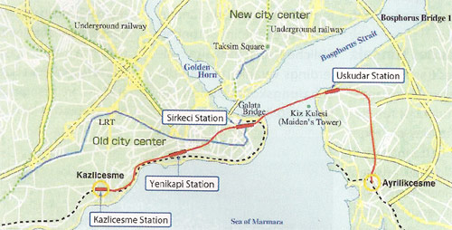 Route of the new rail connection across the Bosphorus