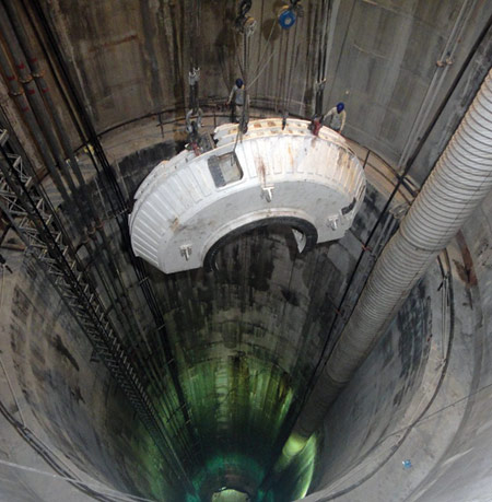Tunnelling advanced from an access shaft of more than 100m deep