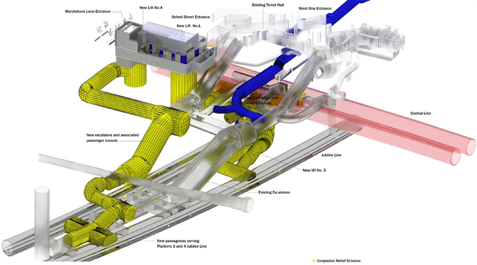 Major underground works at Bond Street to upgrade the existing London Underground Station and create the new Crossrail station