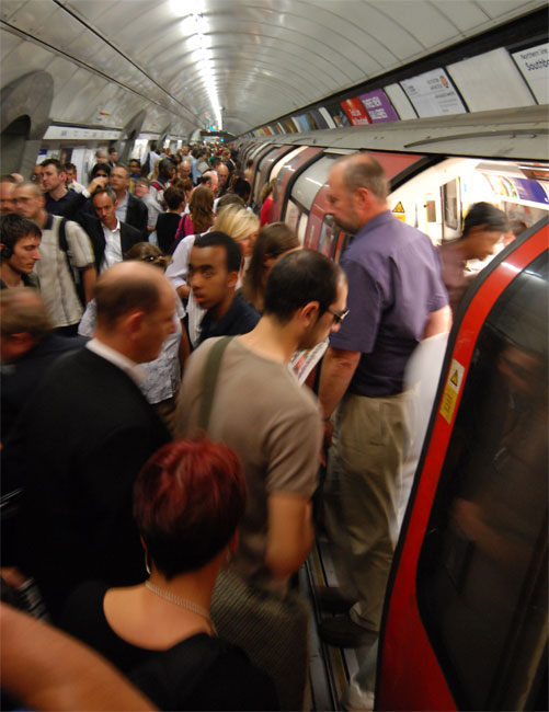 Overcrowding on a London Underground platform