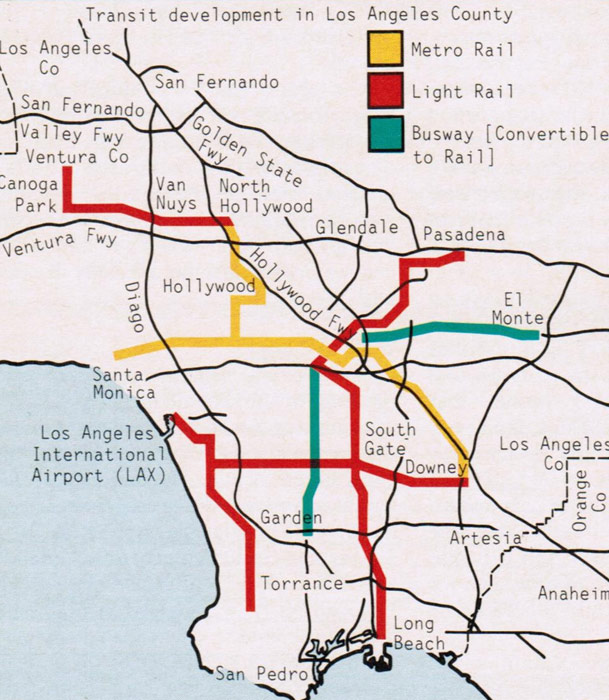 Fig 1. Transit development planned for Los Angeles County