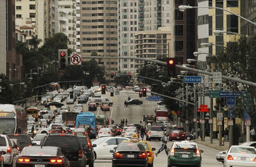 Wilshire Boulevard, under which will run the Purple Line, is one of the busiest urban corridors in the USA