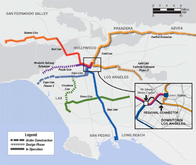 Fig 1. Major underground extensions for LA Metro