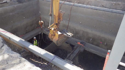 Excavation of exploratory shaft underway for data monitoring