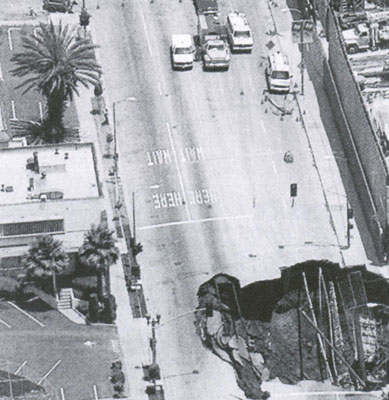 Gaping hole in Hollywood Boulevard after tunnel collapse