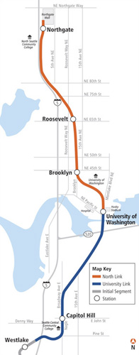 Fig 1. Sound Transit's LRT route north