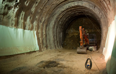 TBM excavation will complete the La Maddalena access adit from the concrete lined drill+blast starter tunnel