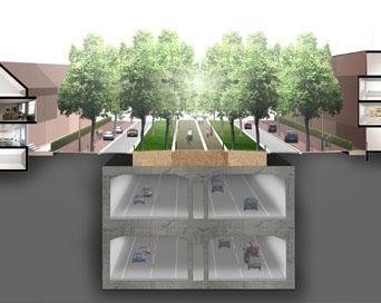 Eight-lane 2x2 tunnel construction