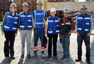 Site visiting team (from left): Desiree Willis, Robbins; Andrei Olivares, Robbins Mexico; Nick Power, Robbins; TunnelTalk Editor, Shani Wallis; Marco Antonio Lara, CARSO; Marcos Camerena, Robbins