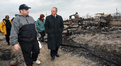 Mayor Bloomberg surveys damage on Tuesday