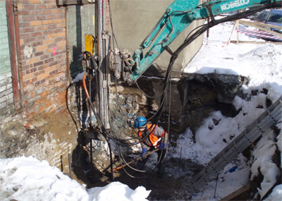 Self-drilling bars used applied as micropiles in tight spots