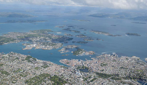 Aerial view over Stavanger and Strand