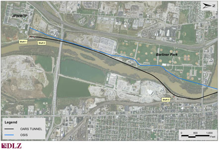 Fig 2. The OARS CSO control tunnel underpasses the Scioto and Olentangy Rivers...