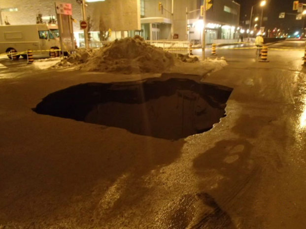 Sinkhole above the utility corridor