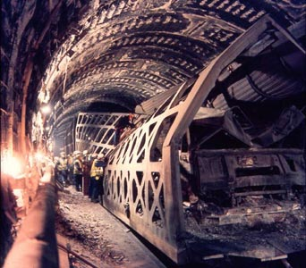 Fig 1. 1996 Channel Tunnel fire damage