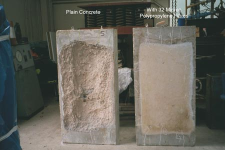 Fig 2. Test samples from CTRL testing - plain concrete and concrete with PP fibres