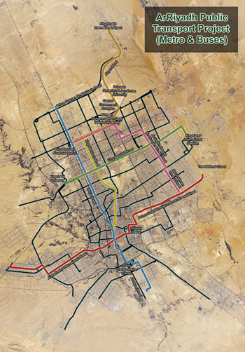 Fig 1. Lines of the 176km Riyadh Metro network