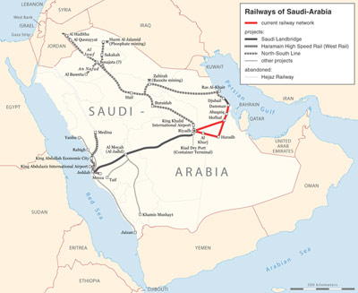 Saudi rail network, including planned Landbridge