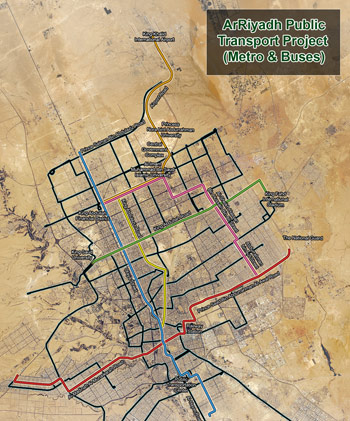 Fig 1. Riyadh metro comprises 6 lines