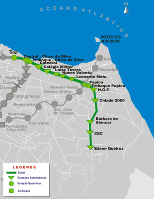 12.4km Fortaleza Lina Leste metro alignment