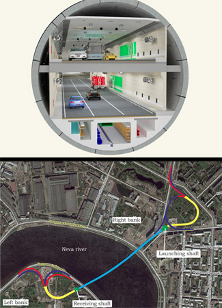 Six-lane double-deck Orlovsky Tunnel under the River Neva will deploy the world's largest diameter TBM